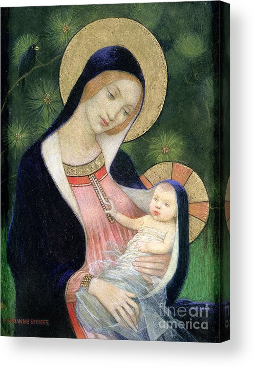 Madonna Of The Fir Tree Acrylic Print featuring the painting Madonna Of The Fir Tree by Marianne Stokes
