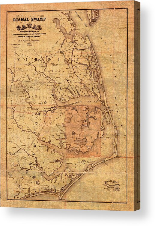 Map Of Outer Banks North Carolina Dismal Swamp Canal Currituck Albemarle  Pamlico Sounds Circa 1867 Acrylic Print