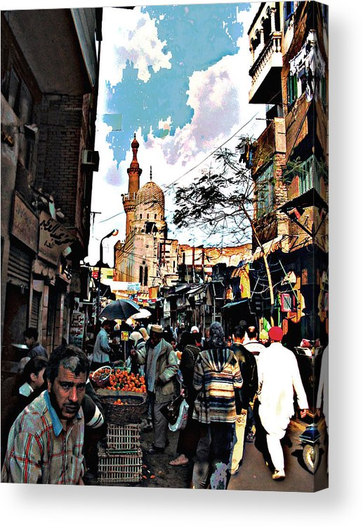 Medieval Cairo Acrylic Print featuring the digital art Market by Noredin Morgan