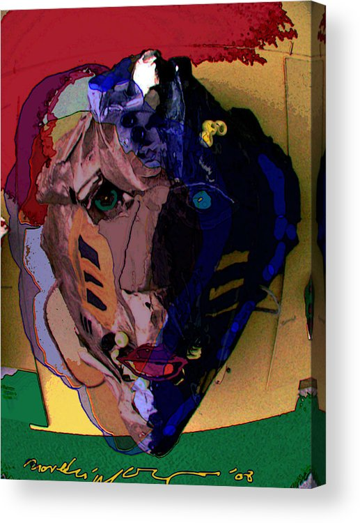 Mask Acrylic Print featuring the painting Mask 17 by Noredin Morgan