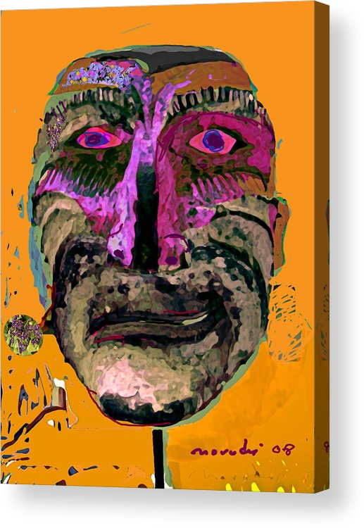 Mask Acrylic Print featuring the painting Mask 7 by Noredin Morgan