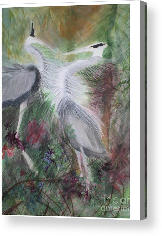 Birds Acrylic Print featuring the painting Match To Mate by Hal Newhouser