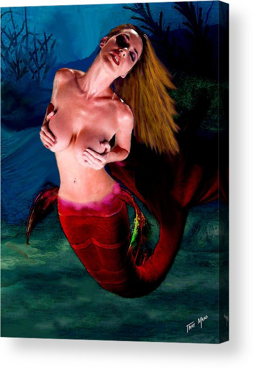 Mermaid Acrylic Print featuring the painting Mermaid Desire by Tray Mead