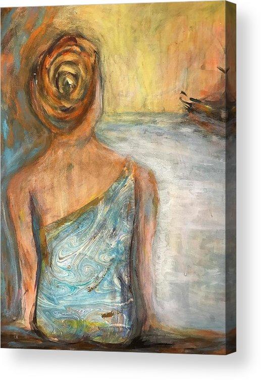 Mermaid Acrylic Print featuring the painting Mermaid Visions by Denice Palanuk Wilson