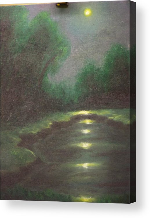 Landscape Acrylic Print featuring the painting Midnight Hour by Charles Vaughn
