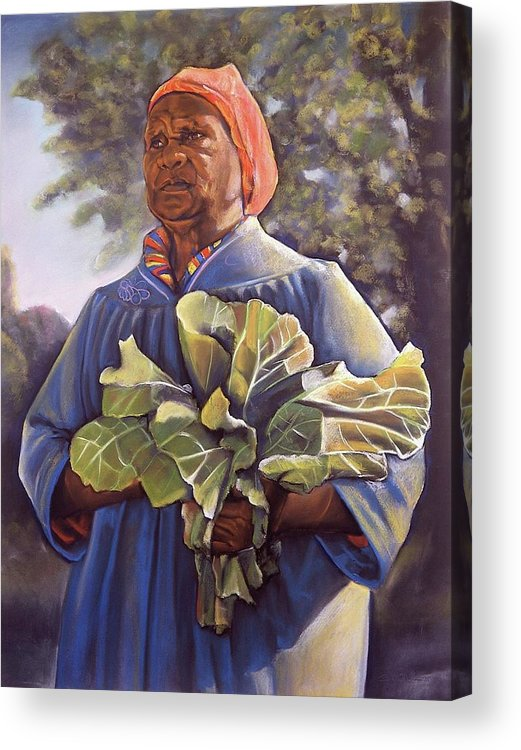 Women Acrylic Print featuring the pastel Miss Emma's Collard Greens by Curtis James