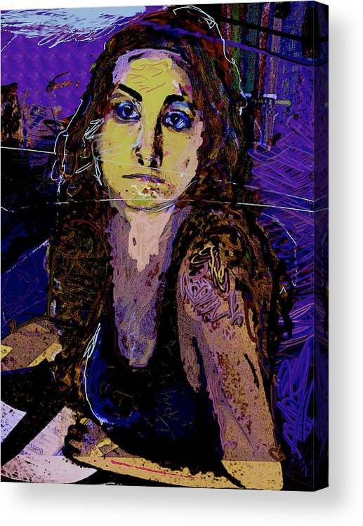 Portrait Acrylic Print featuring the painting Missing You 2 by Noredin Morgan