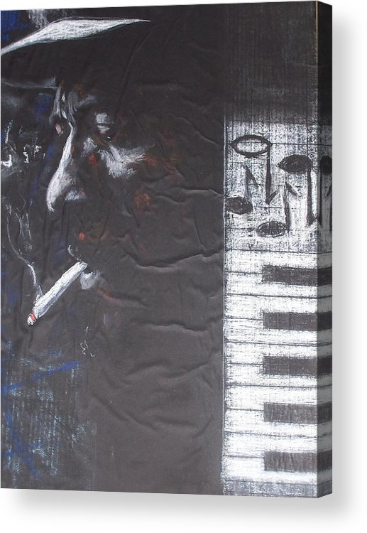 Thelonious Monk Acrylic Print featuring the drawing Monk In Black And White by Darryl Hines