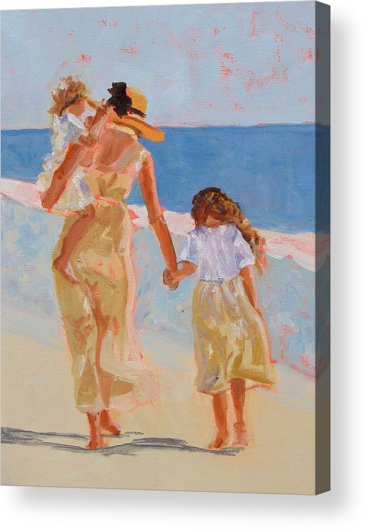 Woman Acrylic Print featuring the painting Mother And Two Daughters by Molly Wright