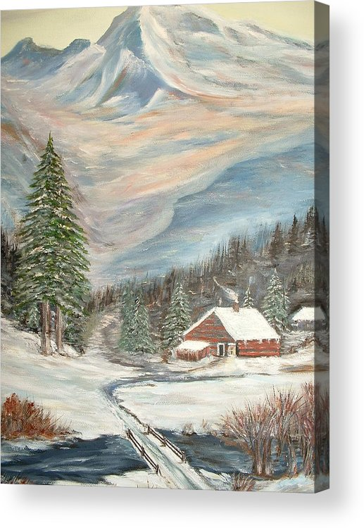 Landscape Mountains Cabin River Trees Acrylic Print featuring the painting Mountain Cabin by Kenneth LePoidevin