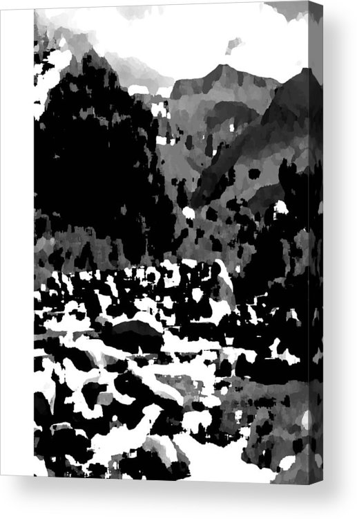 Landscape Black & White Acrylic Print featuring the photograph Mountain Landscape by Vijay Sharon Govender