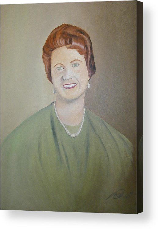 Portrait Acrylic Print featuring the painting Ms. Bryant by Angelo Thomas