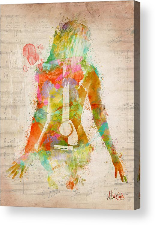Guitar Acrylic Print featuring the digital art Music Was My First Love by Nikki Marie Smith