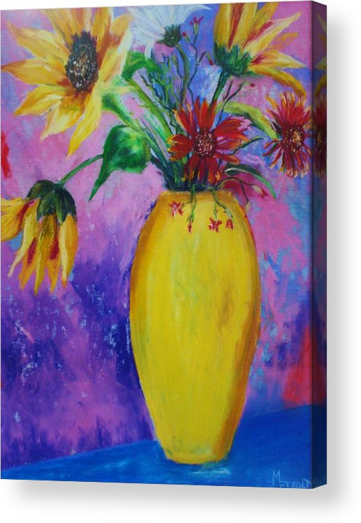 Sunflowers Acrylic Print featuring the painting My Flowers by Melinda Etzold