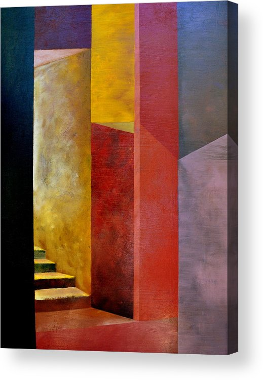 Gold Acrylic Print featuring the painting Mystery Stairway by Michelle Calkins