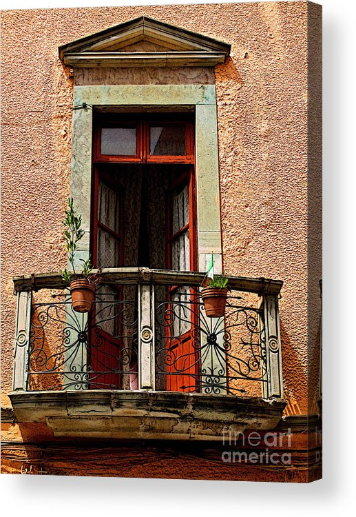 Darian Day Acrylic Print featuring the photograph Narrow Red Window by Mexicolors Art Photography