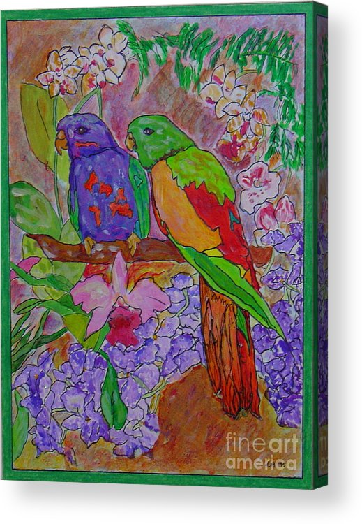 Tropical Pair Birds Parrots Original Illustration Leilaatkinson Acrylic Print featuring the painting Nesting by Leila Atkinson