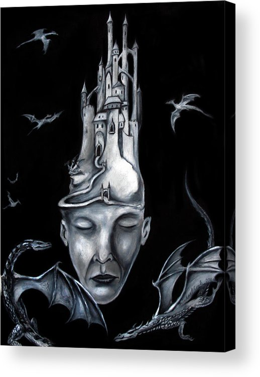 Human Head Acrylic Print featuring the drawing Night God by Michael Cook
