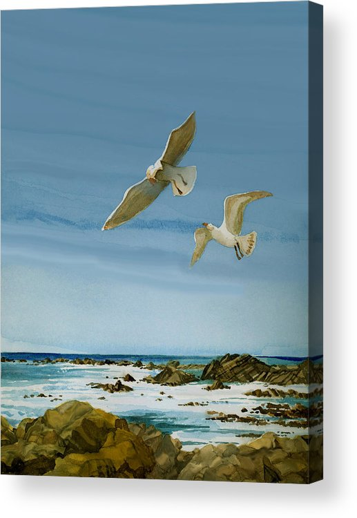 Watercolor Acrylic Print featuring the painting Northern California Coast Three by Andre Salvador