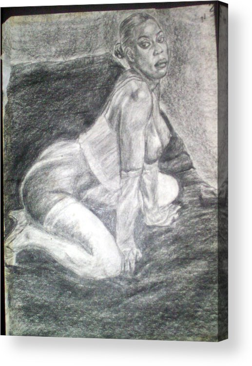 Figure Acrylic Print featuring the drawing Nude Study 1 by Norman Sparrow