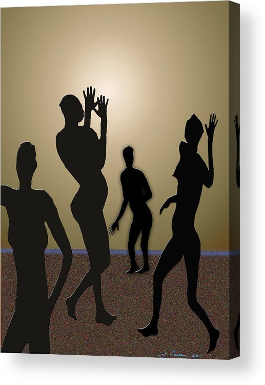 Nude Acrylic Print featuring the digital art Nude Volleyball by Jerry Cooper