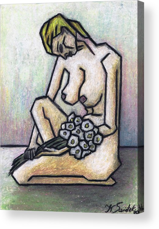 Female Nude Acrylic Print featuring the painting Nude With White Flowers by Kamil Swiatek