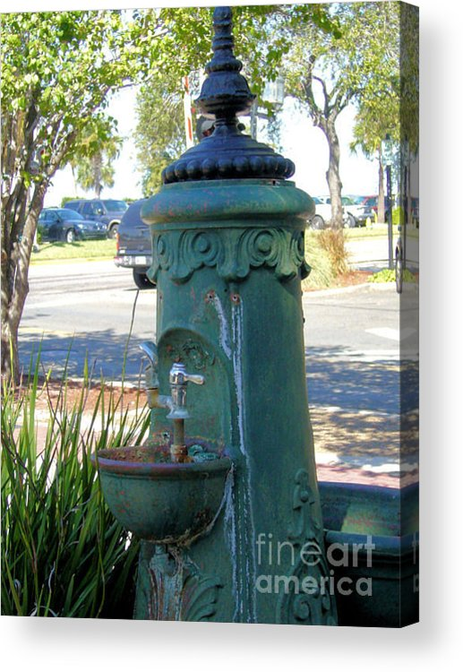 Antique Acrylic Print featuring the photograph Old Drinking Fountain by Barbara Oberholtzer