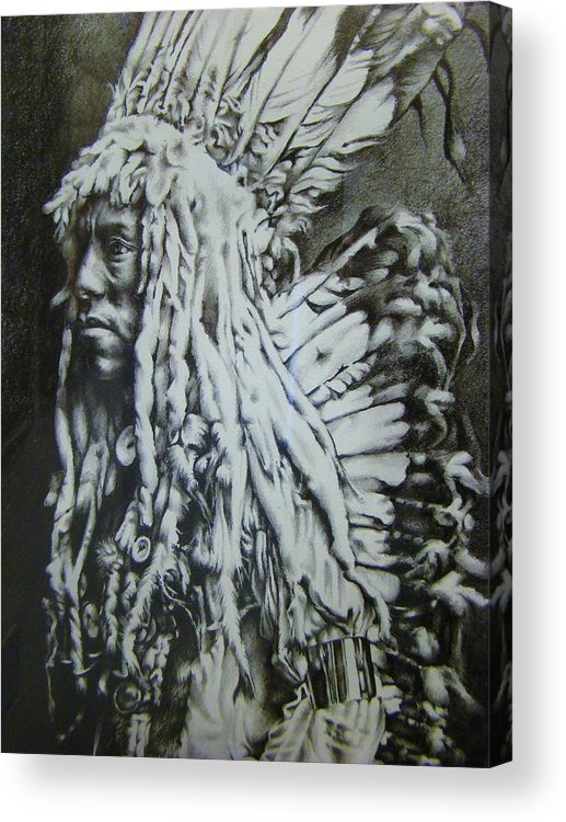 Curtis Acrylic Print featuring the drawing Old Person by Michael Lee Summers