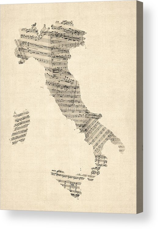 Italy Map Acrylic Print featuring the digital art Old Sheet Music Map Of Italy Map by Michael Tompsett