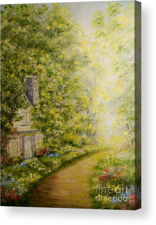 Cottage Acrylic Print featuring the painting Old Stone Cottage by Leea Baltes