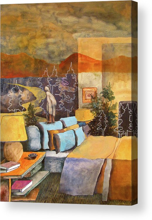 Surreal Dreamlike Mystical Landscape Interior Room Bedroom Hotel Lamp Bed Person Trees Sky Mountains Books Acrylic Print featuring the painting One Foot In, One Foot Out by James Huntley