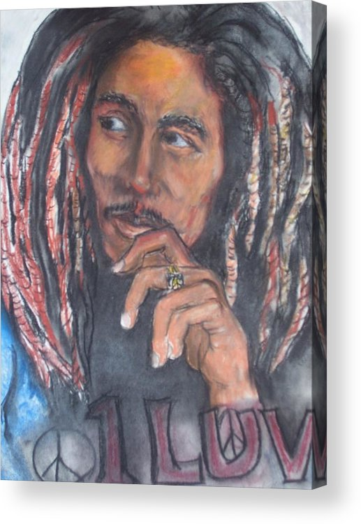 Bob Marley Acrylic Print featuring the print One Luv by Darryl Hines