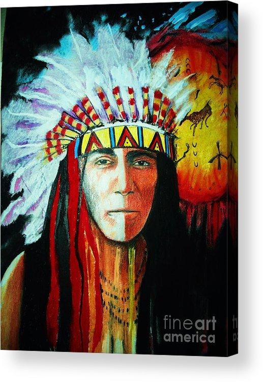 Red Acrylic Print featuring the mixed media Painted Face Warrior by Lynda Clark