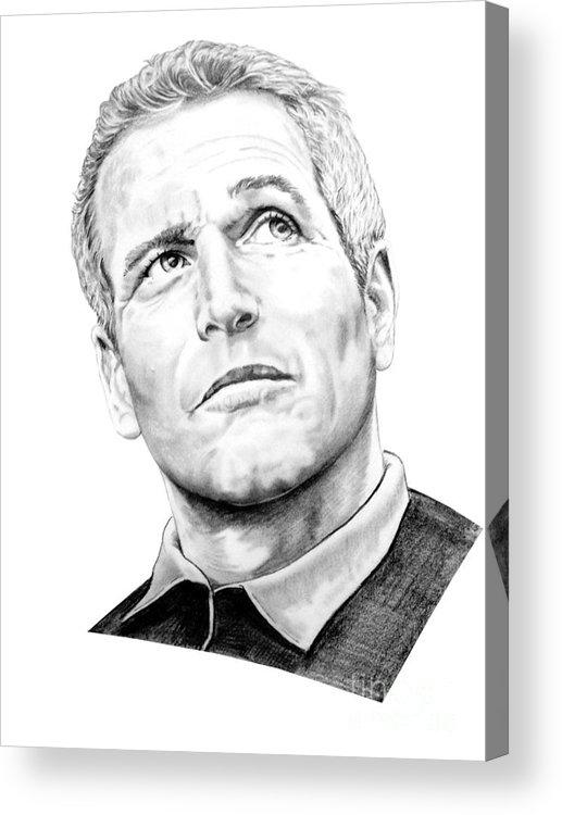 Paul Newman Acrylic Print featuring the drawing Paul Newman by Murphy Elliott