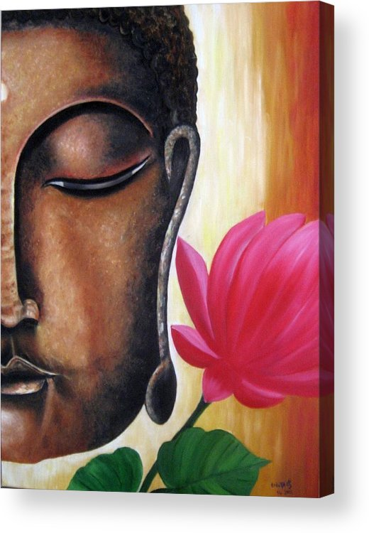 Figurative Acrylic Print featuring the painting Peaceful by Usha Rai
