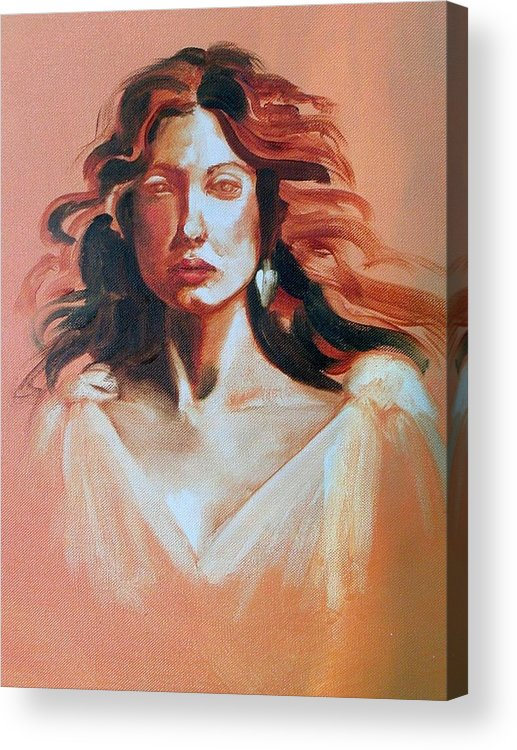 Portrait Acrylic Print featuring the painting Pensive by Brenda Ellis Sauro