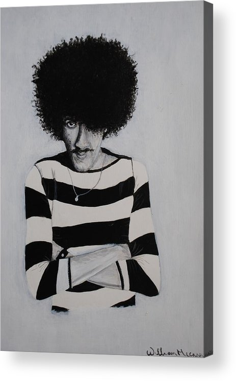 Hpil Lynott Portrait Black And White Acrylic Paintig Musician Acrylic Print featuring the painting Phil Lynott Portrait by William McCann