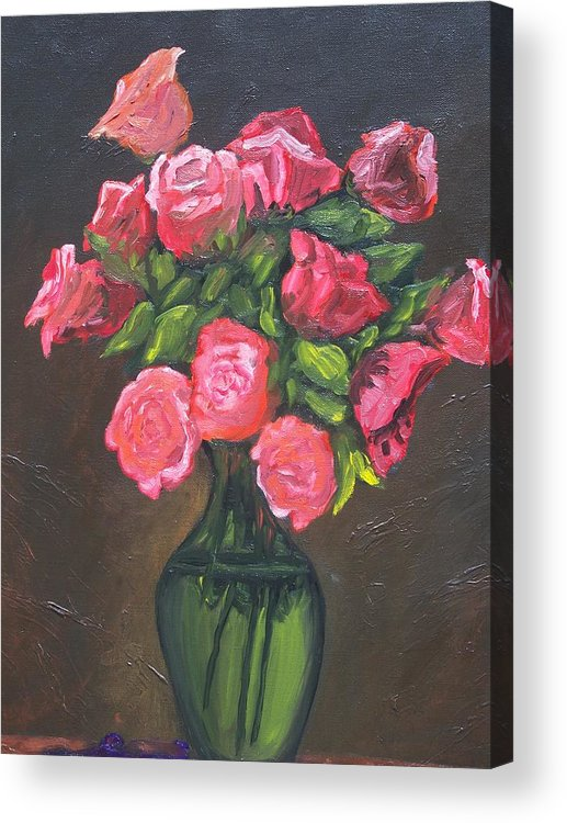 Acrylic Print featuring the painting Pink Roses And Vase by Charles Vaughn