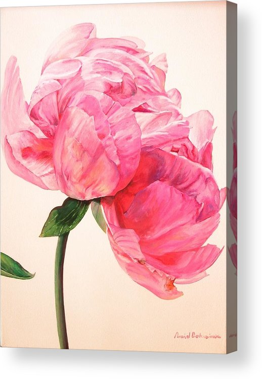 Floral Painting Acrylic Print featuring the painting Pivoine 3 by Muriel Dolemieux