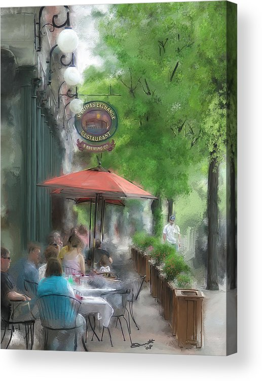Summer Tea Painting Street Oil Envy Chairs Cafe Sunday Umbrella Acrylic Print featuring the painting Point Of View by Eddie Durrett