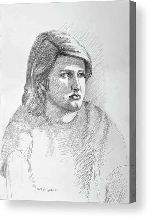 Realism Acrylic Print featuring the drawing Portrait Of A Boy by Keith Burgess