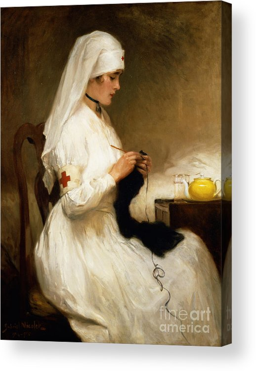 Portrait Acrylic Print featuring the painting Portrait Of A Nurse From The Red Cross by Gabriel Emile Niscolet