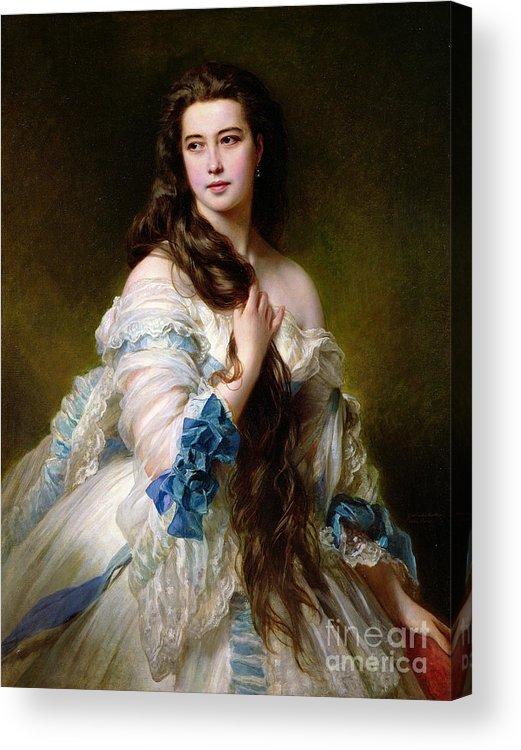 Portrait Acrylic Print featuring the painting Portrait Of Madame Rimsky Korsakov by Franz Xaver Winterhalter