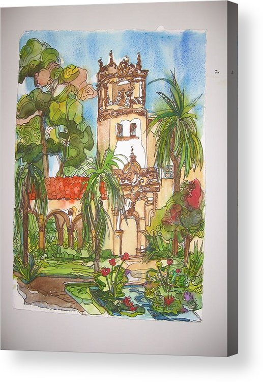 Landscape Painted On Location Acrylic Print featuring the painting Prado- Balboa Park by Michelle Gonzalez