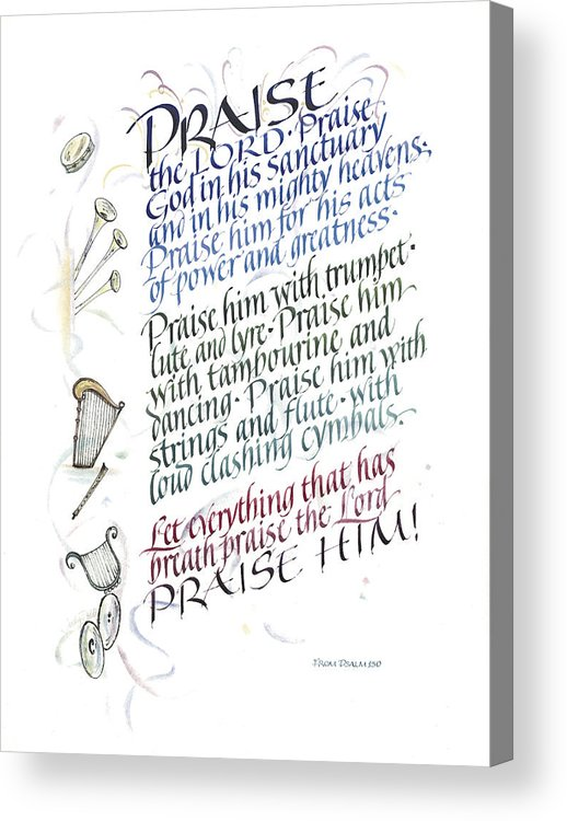 Achievement Acrylic Print featuring the painting Praise The Lord by Judy Dodds