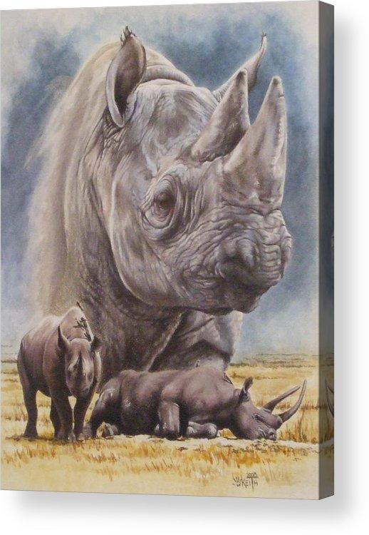 Wildlife Acrylic Print featuring the mixed media Precarious by Barbara Keith