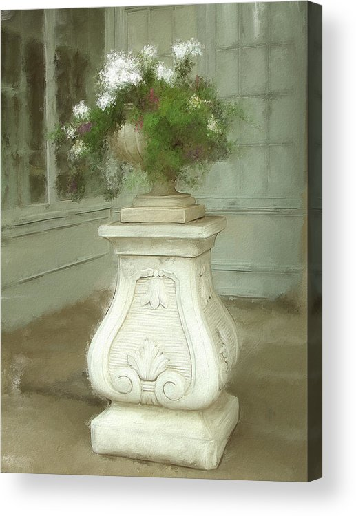 Boston Mass Hotel Copley Statuary Acrylic Print featuring the painting Presence by Eddie Durrett