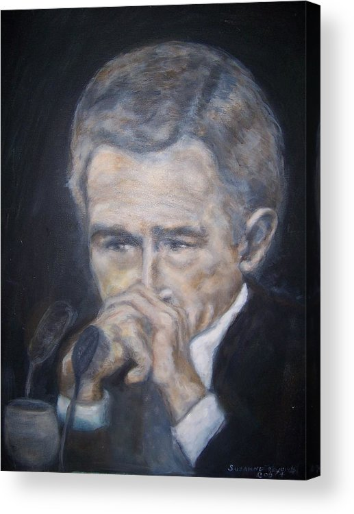 President George Bush Acrylic Print featuring the painting President George Bush by Suzanne Reynolds