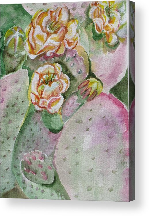 Cactus Flower Acrylic Print featuring the painting Prickly Pear by Kathy Mitchell