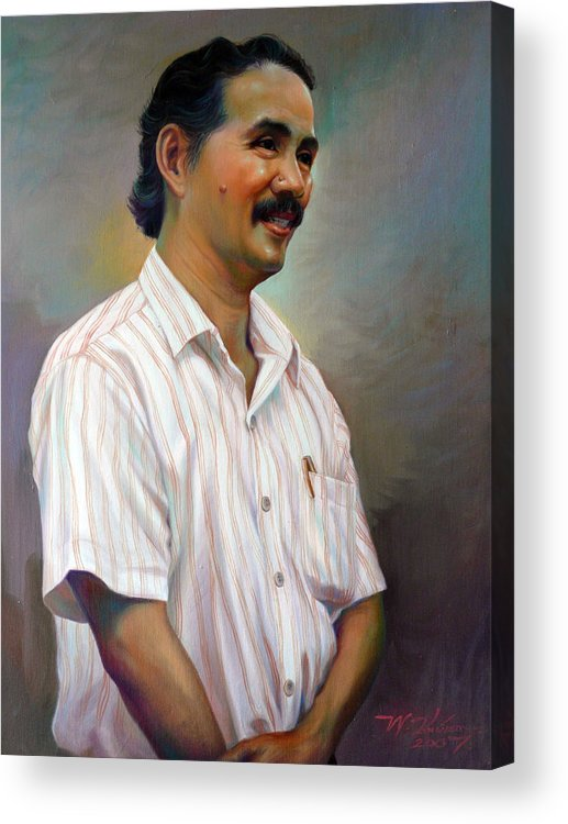 Portrait Acrylic Print featuring the painting Prof.panya Petchoo by Chonkhet Phanwichien